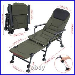 Carp Fishing Bed Chair Bedchair Camping Bed Recliner 6 Adjustable Mud Feet Pad