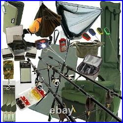Complete Carp Fishing Set Up + 3 Rods Reels Alarms Luggage Tackle Holdall Bait