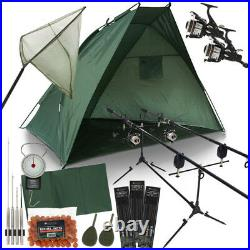 Full Carp Fishing Set Up With Rods Reels Shelter Bite Alarms Bait Needles Tackle