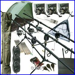 Full Carp fishing Set Up With Rods Reels Alarms Net Holdall Bait Bivvy & Tackle