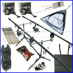 Full Carp fishing Set Up With Rods Reels Pod Alarms Net Bait Tackle